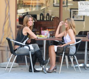 "October 22, 2009: Audrina Patridge and Lauren ""Lo"" Bosworth are seen filming scenes for MTV's reality series ""The Hills"" at a local cafe in West Hollywood in Los Angeles, California. Credit: INFphoto.com Ref.: infusla-128"