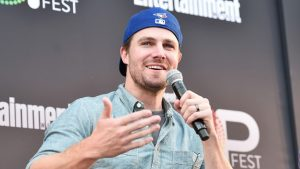 LOS ANGELES, CA - OCTOBER 29: Actor Stephen Amell speaks onstage during the ?CW Superheroes? panel at Entertainment Weekly's PopFest at The Reef on October 29, 2016 in Los Angeles, California. Alberto E. Rodriguez/Getty Images for Entertainment Weekly/AFP